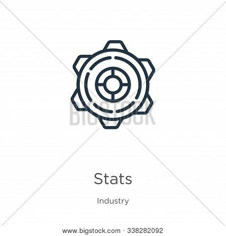 Stats Icon. Thin Linear Stats Outline Icon Isolated On White Background From Industry Collection. Li