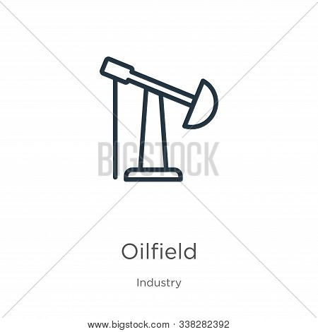 Oilfield Icon. Thin Linear Oilfield Outline Icon Isolated On White Background From Industry Collecti
