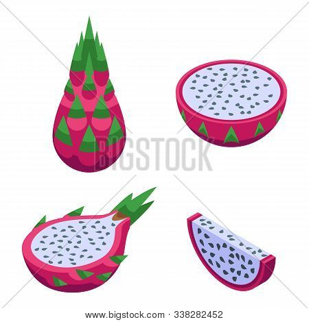 Pitaya Icons Set. Isometric Set Of Pitaya Vector Icons For Web Design Isolated On White Background
