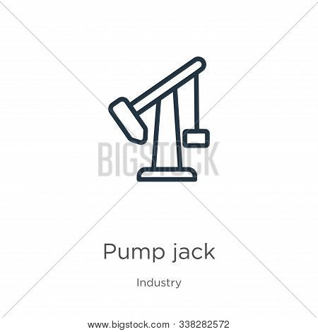 Pump Jack Icon. Thin Linear Pump Jack Outline Icon Isolated On White Background From Industry Collec