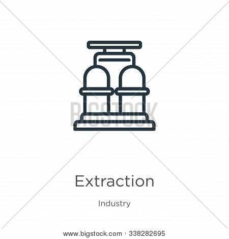 Extraction Icon. Thin Linear Extraction Outline Icon Isolated On White Background From Industry Coll