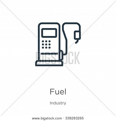 Fuel Icon. Thin Linear Fuel Outline Icon Isolated On White Background From Industry Collection. Line