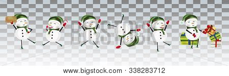 Collection Of Funny Cheerful Snowmans. Cute Christmas Snowmans Isolated On Transparent Background. C