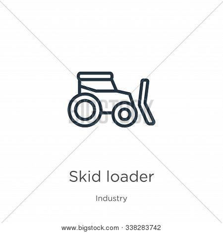 Skid Loader Icon. Thin Linear Skid Loader Outline Icon Isolated On White Background From Industry Co