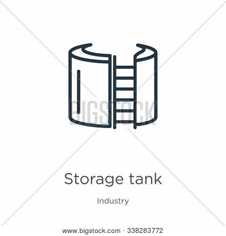 Storage Tank Icon. Thin Linear Storage Tank Outline Icon Isolated On White Background From Industry