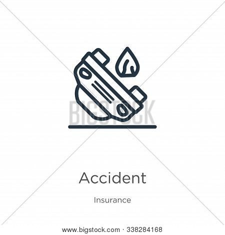 Accident Icon. Thin Linear Accident Outline Icon Isolated On White Background From Insurance Collect