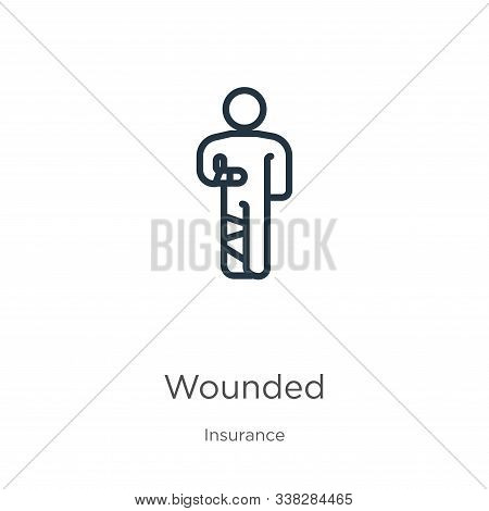 Wounded Icon. Thin Linear Wounded Outline Icon Isolated On White Background From Insurance Collectio