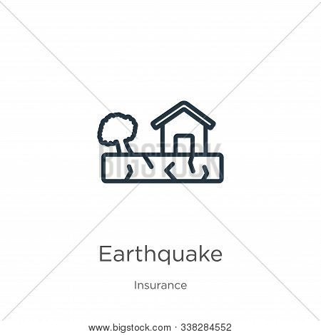 Earthquake Icon. Thin Linear Earthquake Outline Icon Isolated On White Background From Insurance Col
