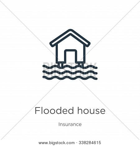 Flooded House Icon. Thin Linear Flooded House Outline Icon Isolated On White Background From Insuran