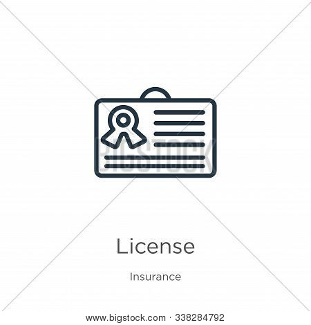 License Icon. Thin Linear License Outline Icon Isolated On White Background From Insurance Collectio