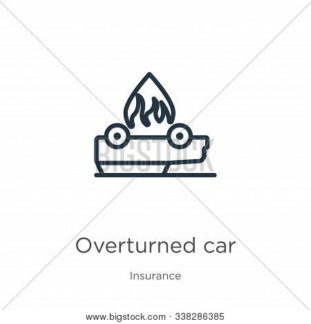 Overturned Car Icon. Thin Linear Overturned Car Outline Icon Isolated On White Background From Insur