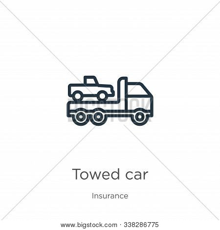 Towed Car Icon. Thin Linear Towed Car Outline Icon Isolated On White Background From Insurance Colle