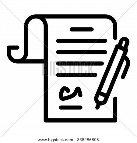Justice Signature Paper Icon. Outline Justice Signature Paper Vector Icon For Web Design Isolated On