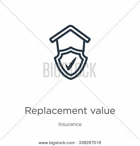 Replacement Value Icon. Thin Linear Replacement Value Outline Icon Isolated On White Background From