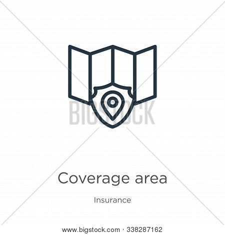 Coverage Area Icon. Thin Linear Coverage Area Outline Icon Isolated On White Background From Insuran