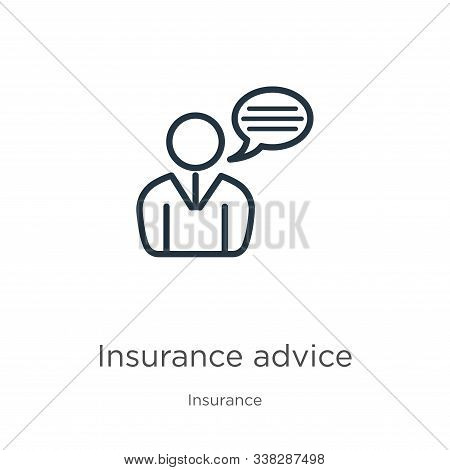 Insurance Advice Icon. Thin Linear Insurance Advice Outline Icon Isolated On White Background From I
