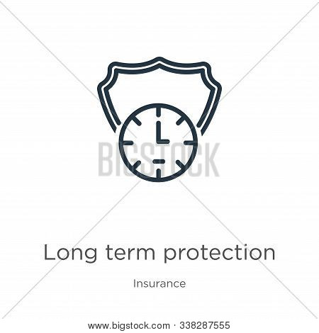 Long Term Protection Icon. Thin Linear Long Term Protection Outline Icon Isolated On White Backgroun