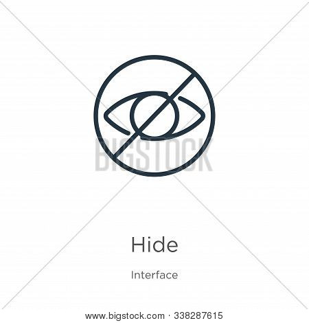 Hide Icon. Thin Linear Hide Outline Icon Isolated On White Background From Interface Collection. Lin