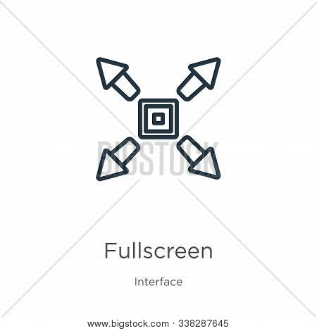 Fullscreen Icon. Thin Linear Fullscreen Outline Icon Isolated On White Background From Interface Col