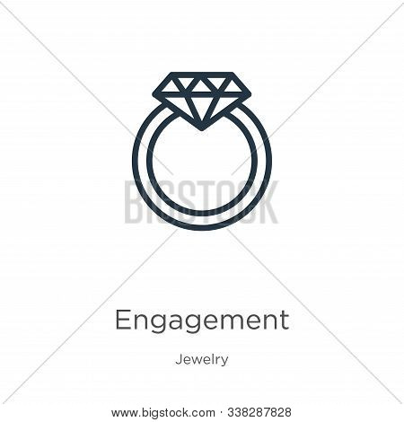 Engagement Icon. Thin Linear Engagement Outline Icon Isolated On White Background From Jewelry Colle