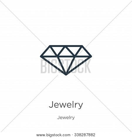 Jewelry Icon. Thin Linear Jewelry Outline Icon Isolated On White Background From Jewelry Collection.