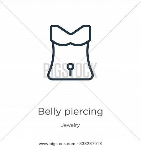 Belly Piercing Icon. Thin Linear Belly Piercing Outline Icon Isolated On White Background From Jewel