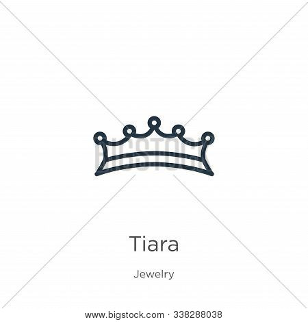 Tiara Icon. Thin Linear Tiara Outline Icon Isolated On White Background From Jewelry Collection. Lin