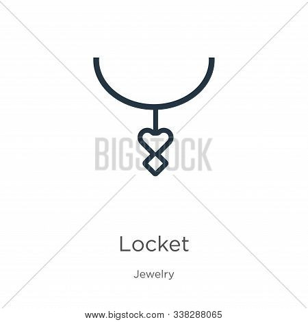 Locket Icon. Thin Linear Locket Outline Icon Isolated On White Background From Jewelry Collection. L