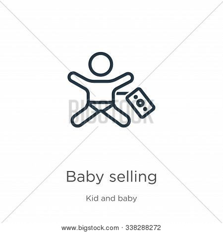 Baby Selling Icon. Thin Linear Baby Selling Outline Icon Isolated On White Background From Kid And B