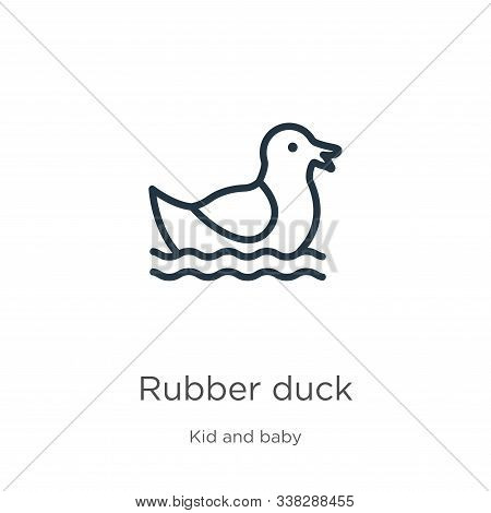 Rubber Duck Icon. Thin Linear Rubber Duck Outline Icon Isolated On White Background From Kid And Bab