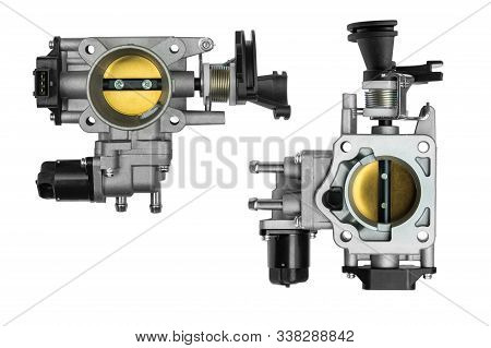 Throttle Body Assembly With Sensor On A White Background