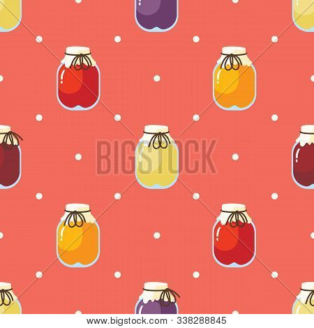Fruit Jam Seamless Pattern On Pink Background With White Dots