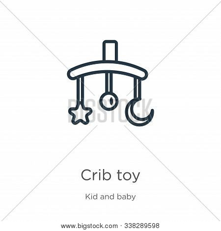Crib Toy Icon. Thin Linear Crib Toy Outline Icon Isolated On White Background From Kid And Baby Coll