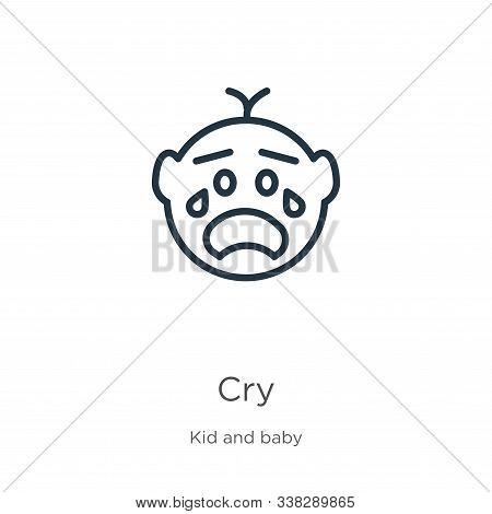 Cry Icon. Thin Linear Cry Outline Icon Isolated On White Background From Kid And Baby Collection. Li