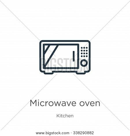 Microwave Oven Icon. Thin Linear Microwave Oven Outline Icon Isolated On White Background From Kitch