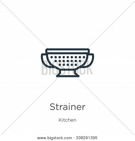 Strainer Icon. Thin Linear Strainer Outline Icon Isolated On White Background From Kitchen Collectio