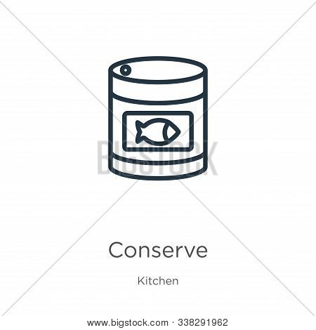 Conserve Icon. Thin Linear Conserve Outline Icon Isolated On White Background From Kitchen Collectio