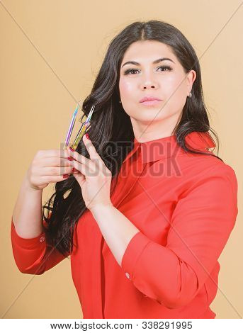 Beauty Shop Concept. Professional Eyelash Extension Tweezer. Lash Tool. Girl Makeup Face Hold Tweeze