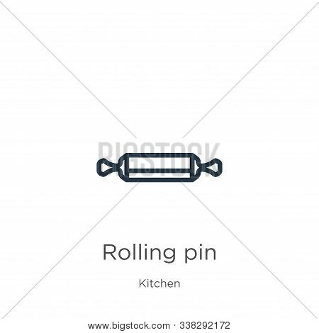 Rolling Pin Icon. Thin Linear Rolling Pin Outline Icon Isolated On White Background From Kitchen Col
