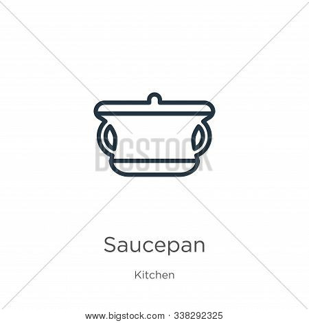 Saucepan Icon. Thin Linear Saucepan Outline Icon Isolated On White Background From Kitchen Collectio
