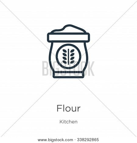 Flour Icon. Thin Linear Flour Outline Icon Isolated On White Background From Kitchen Collection. Lin