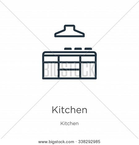 Kitchen Icon. Thin Linear Kitchen Outline Icon Isolated On White Background From Kitchen Collection.
