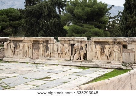 Old Ancient Marble Figures In The Teathre Of Dionysus In Athens Greece, Acropoli Museum
