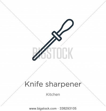 Knife Sharpener Icon. Thin Linear Knife Sharpener Outline Icon Isolated On White Background From Kit