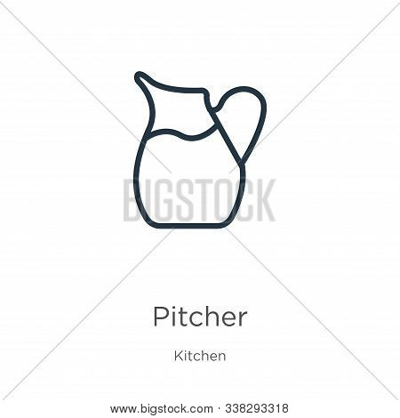Pitcher Icon. Thin Linear Pitcher Outline Icon Isolated On White Background From Kitchen Collection.