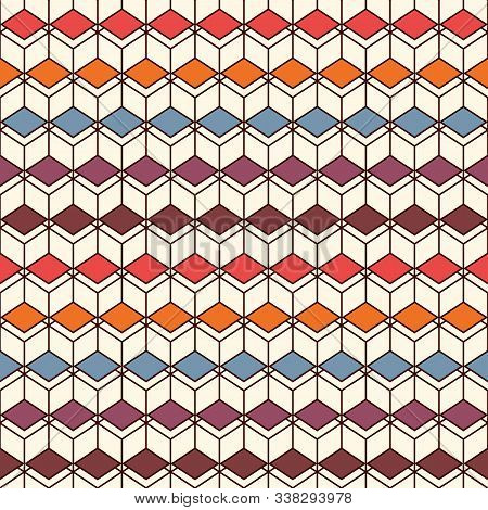 Repeated Diamonds Background. Geometric Shapes Wallpaper. Seamless Pattern Design With Polygons Tess