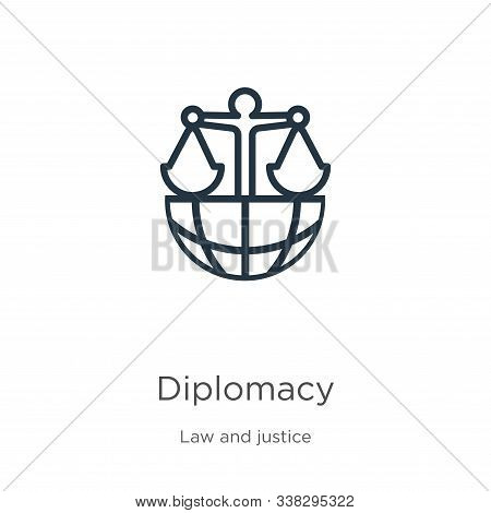 Diplomacy Icon. Thin Linear Diplomacy Outline Icon Isolated On White Background From Law And Justice