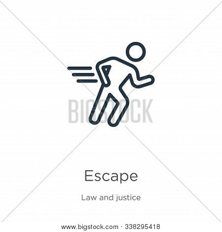 Escape Icon. Thin Linear Escape Outline Icon Isolated On White Background From Law And Justice Colle