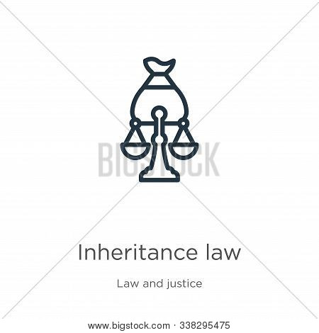 Inheritance Law Icon. Thin Linear Inheritance Law Outline Icon Isolated On White Background From Law