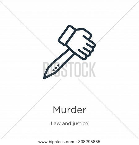Murder Icon. Thin Linear Murder Outline Icon Isolated On White Background From Law And Justice Colle